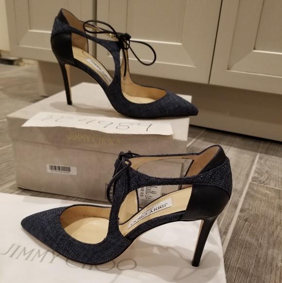 f619a50e7ae4 NWT Jimmy Choo VANESSA 85 navy tweed heels 36.5